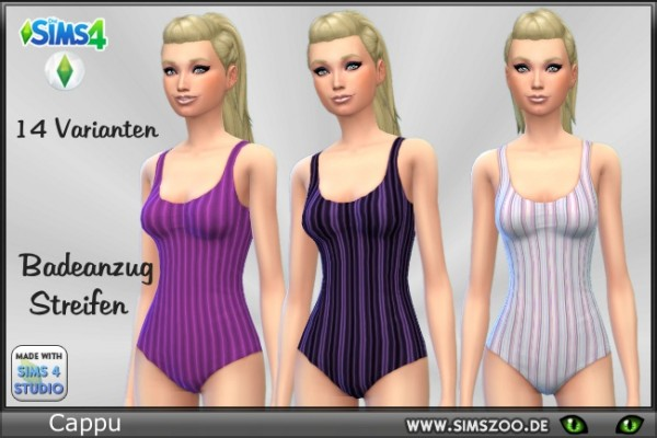 Blackys Sims 4 Zoo: Swimsuit with strips by Cappu