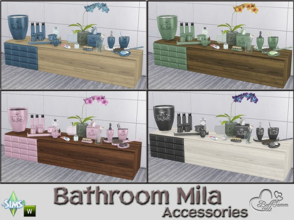 The Sims Resource: Mila Bathrom Accessories by BuffSumm