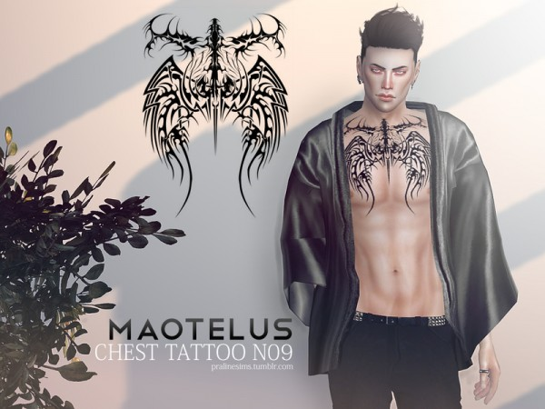 5c68354e7 The Sims Resource: Maotelus Chest Tattoo N09 by Pralinesims • Sims 4 ...