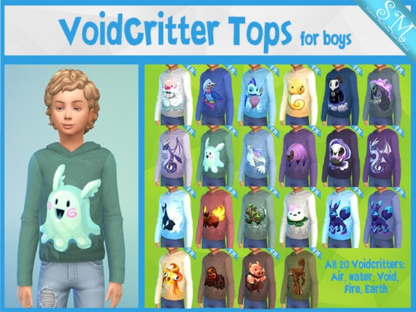 Simsworkshop: 20 Voidcritters Tops for kids by Mellanie