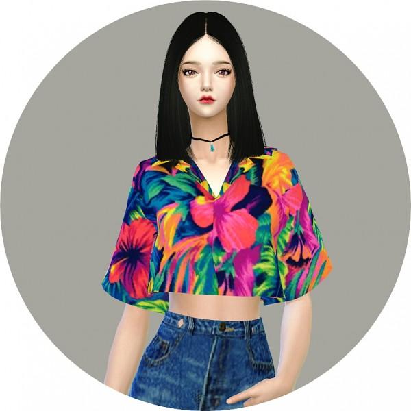 SIMS4 Marigold: Crop Hawaiian Shirts