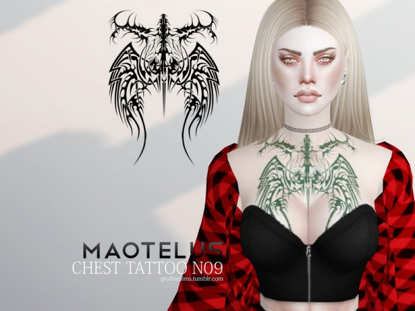 The Sims Resource: Maotelus Chest Tattoo N09 by Pralinesims