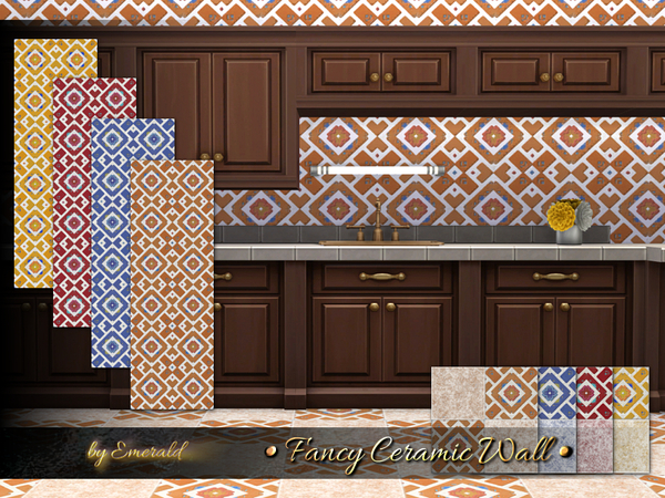 The Sims Resource: Fancy Ceramic Wall by Emerald