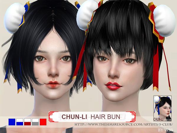 The Sims Resource: Chunli hair bun by S Club