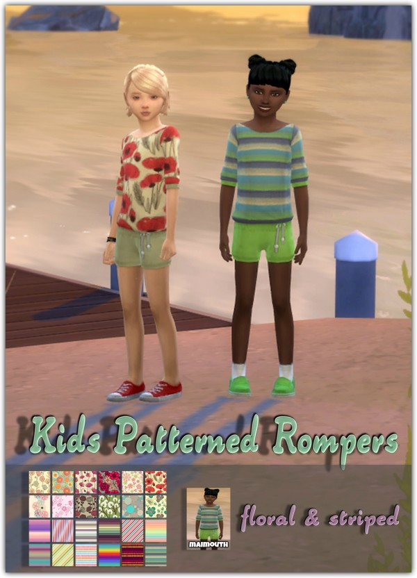 Simsworkshop: Kids Patterned Rompers by maimouth