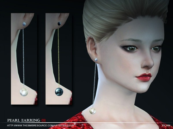 The Sims Resource: Pearl earring N01 by S Club