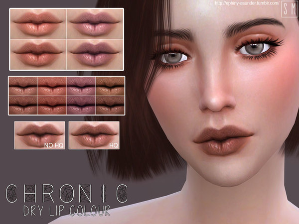 The Sims Resource: Chronic Dry Lip Colour by Screaming Mustard