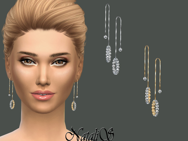 The Sims Resource: Crystal Pave Drop Earrings by NataliS