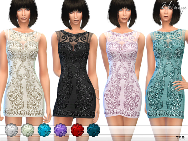 The Sims Resource: Embroidered Tulle Dress by ekinege