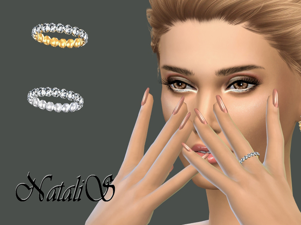 The Sims Resource: Crystal Pave Left Ring by NataliS