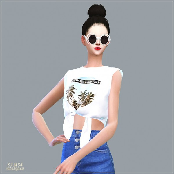 SIMS4 Marigold: Tied Sleeveless Crop Top