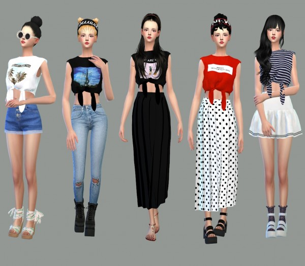 Sims 4 Cc S The Best Windows By Tingelingelater: SIMS4 Marigold: Tied Sleeveless Crop Top • Sims 4 Downloads