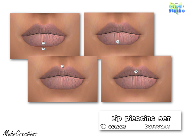 The Sims Resource: Lip Piercing Set by MahoCreations