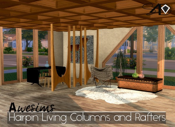 Sims 4 Designs: Awesims Hairpin Living Columns and Rafters Set