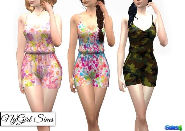 NY Girl Sims: Open Back Pocket Romper in Prints