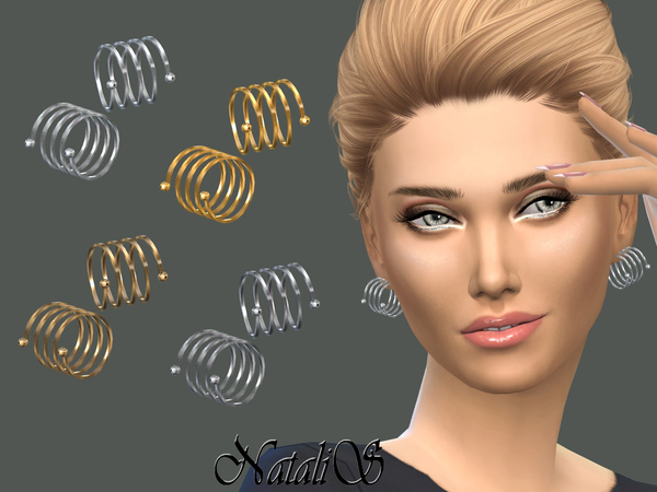 The Sims Resource: Spiral metal earrings by NataliS