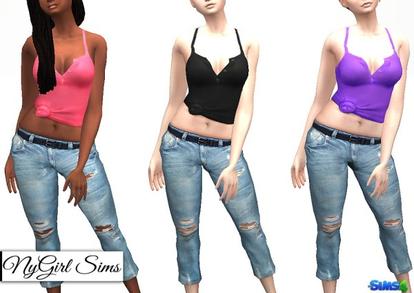 NY Girl Sims: Racerback Collared Knot Tank