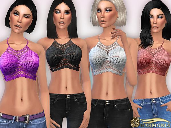 The Sims Resource: Bohemian Crochet Halter Bikini Top by Harmonia