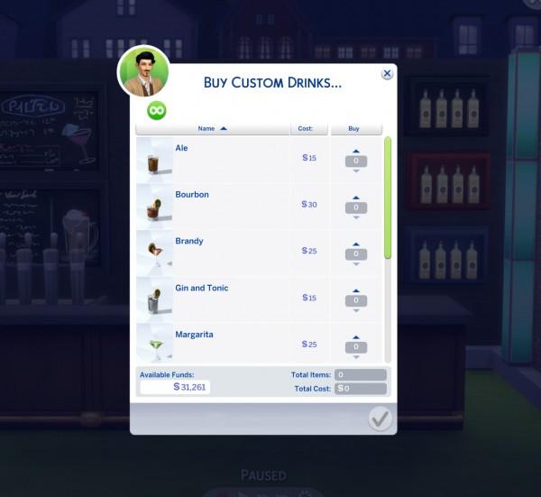 Mod The Sims: Custom Bar Drinks by icemunmun