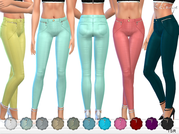 The Sims Resource: Stretch Skinny Pants With Zips by Ekinege