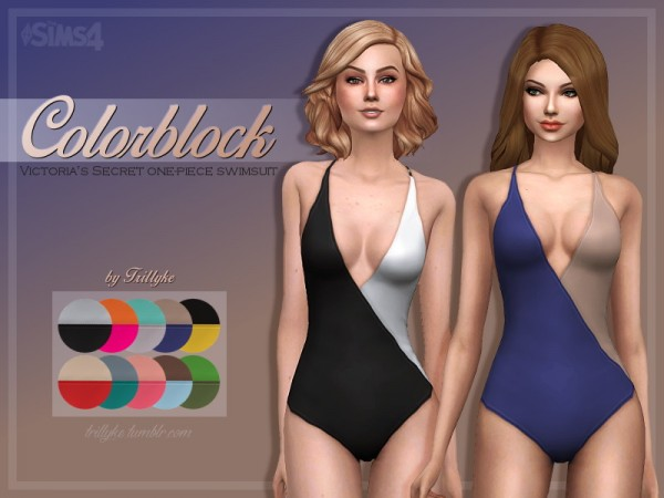 Trillyke: Colorblock One Piece Swimsuit