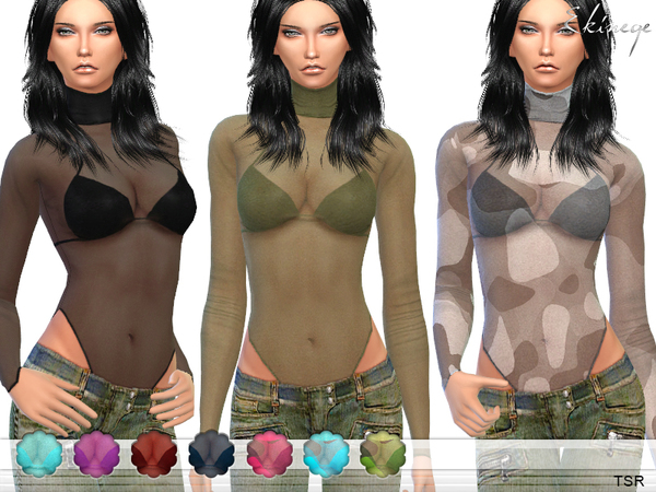 The Sims Resource: High Neck Sheer Mesh Top by ekinege