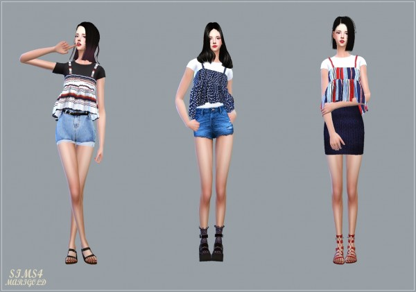 SIMS4 Marigold: Summer Flare Sleeveless With Tee