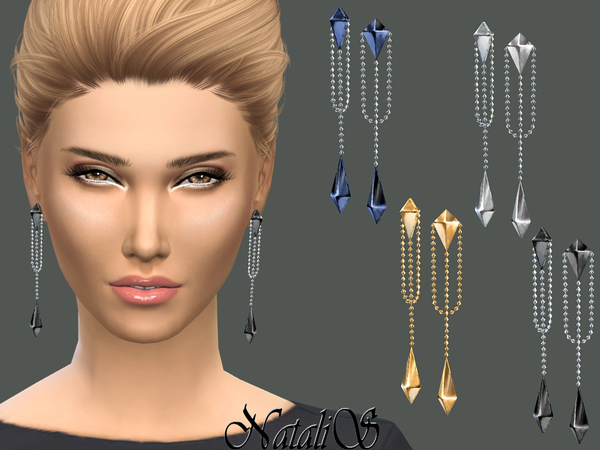 The Sims Resource: Double pyramid drop earrings by NataliS