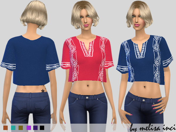 The Sims Resource: Embroidered Cropped Top by melisa inci