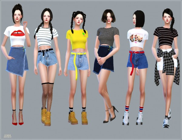 Sims4 Marigold New Crop Short Sleeves Top Sims 4 Downloads