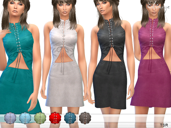 The Sims Resource: Lace Up Cut Out Front Mini Dress by ekinege