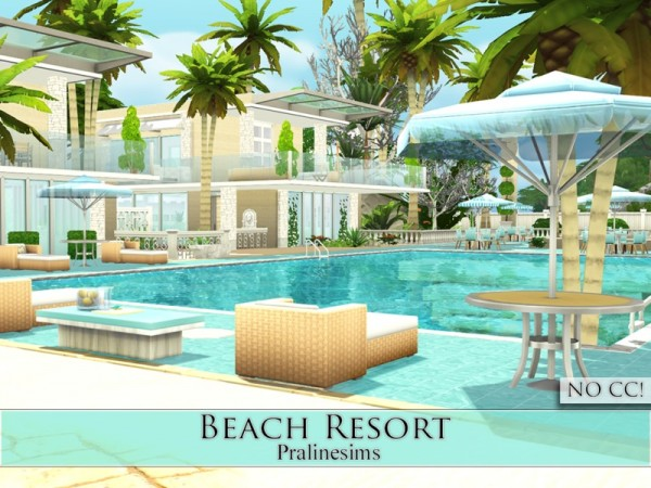 The sims resource beach resort by pralinesims sims 4 for Beach house 3 free download