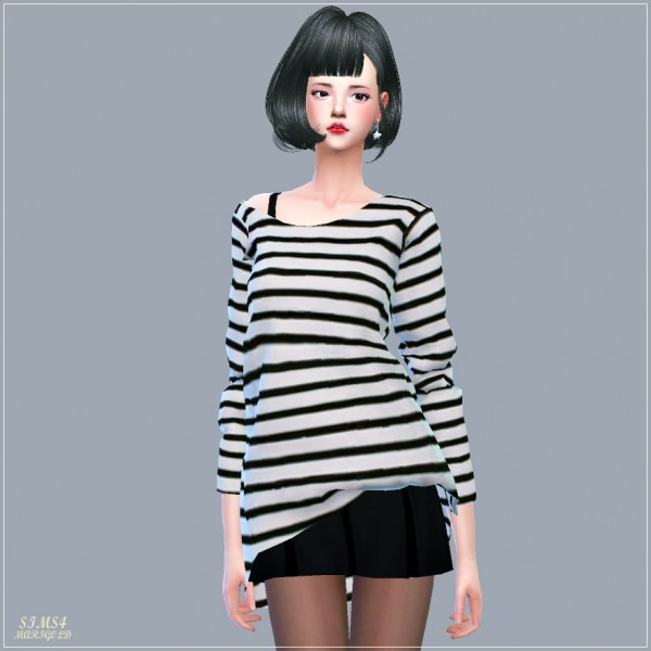Sims4 Marigold Unbalance Off Shoulder Long Sleeves Top