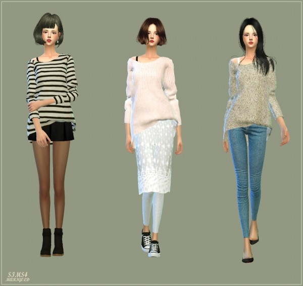 Sims 4 Cc S The Best Windows By Tingelingelater: SIMS4 Marigold: Unbalance Off Shoulder Long Sleeves Top