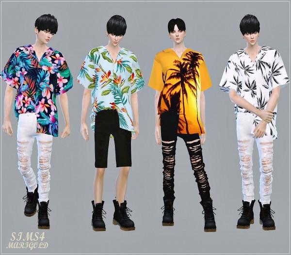 SIMS4 Marigold: Male Hawaiian Shirts Unbalance