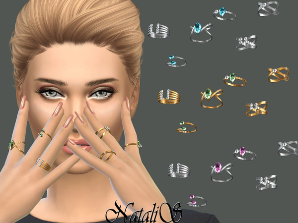 The Sims Resource: Multi stone rings by NataliS