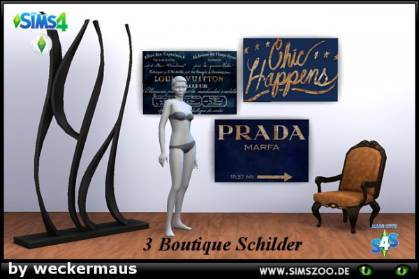 Blackys Sims 4 Zoo: Boutique Paintings by weckermaus