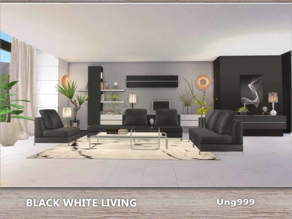 The Sims Resource: Black White Living by ung999