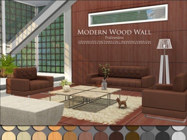 The Sims Resource: Modern Wood Wall by Pralinesims