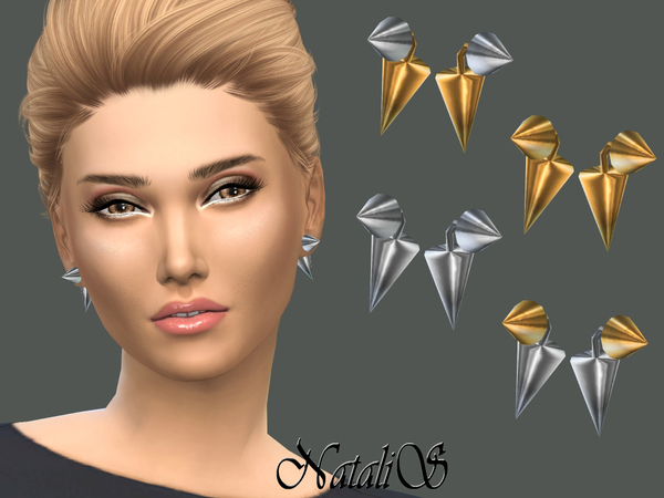 The Sims Resource: Cone Front   Back Earrings by NataliS