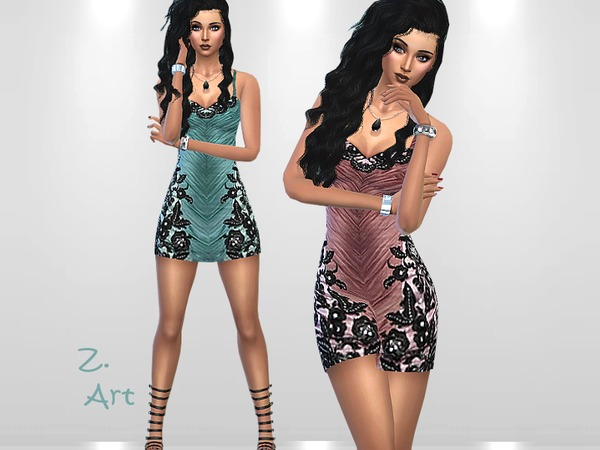 The Sims Resource: Crinkle Mini dress by Zuckerschnute20
