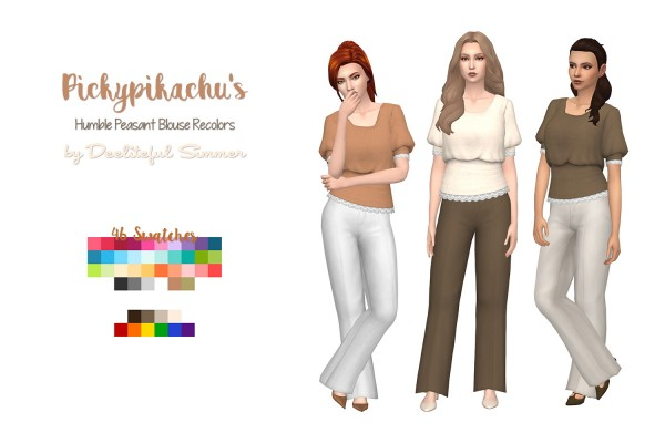 Simsworkshop: Peasant Blouse recolored by deelitefulsimmer