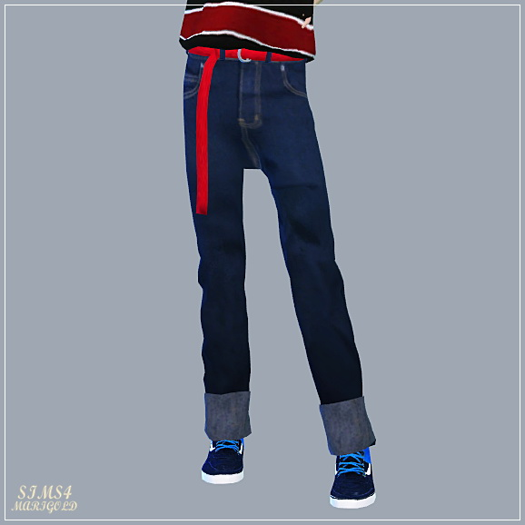 SIMS4 Marigold: Retro Roll Up Jeans With Belt