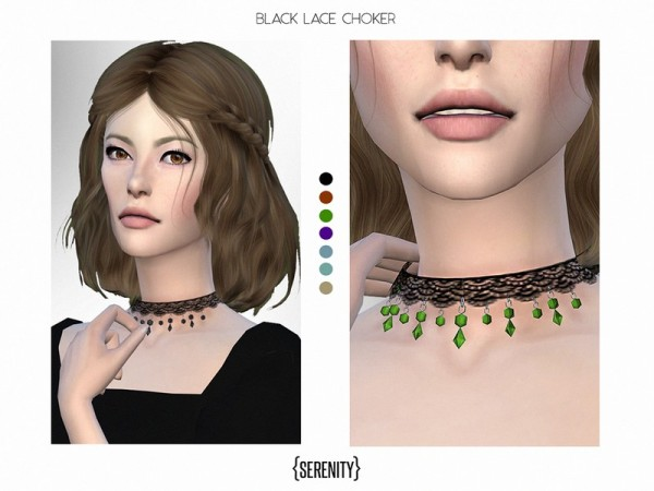 The Sims Resource: Black Lace Choker by serenity cc