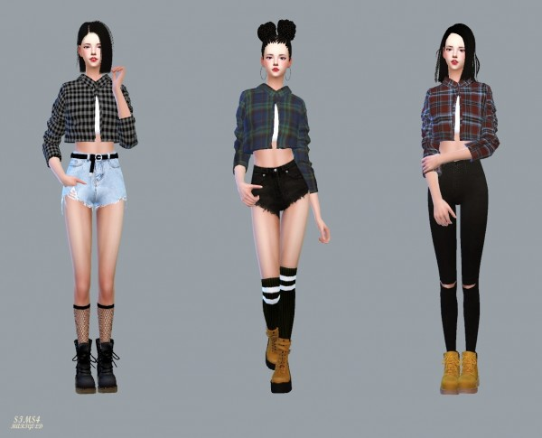 SIMS4 Marigold: Short Shirts With Tee