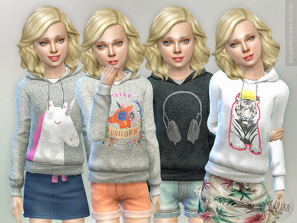 The Sims Resource: Hoodie for Girls P04 by lillka