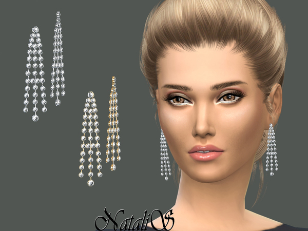 The Sims Resource: Sparkling chandelier earrings by NataliS