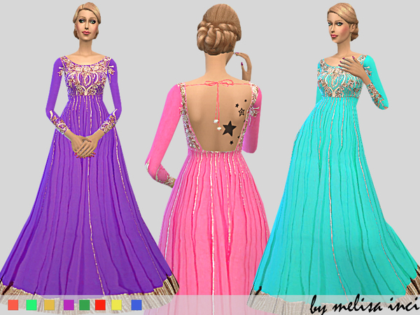 The Sims Resource: Embroidered Anarkali Gown by melisa inci