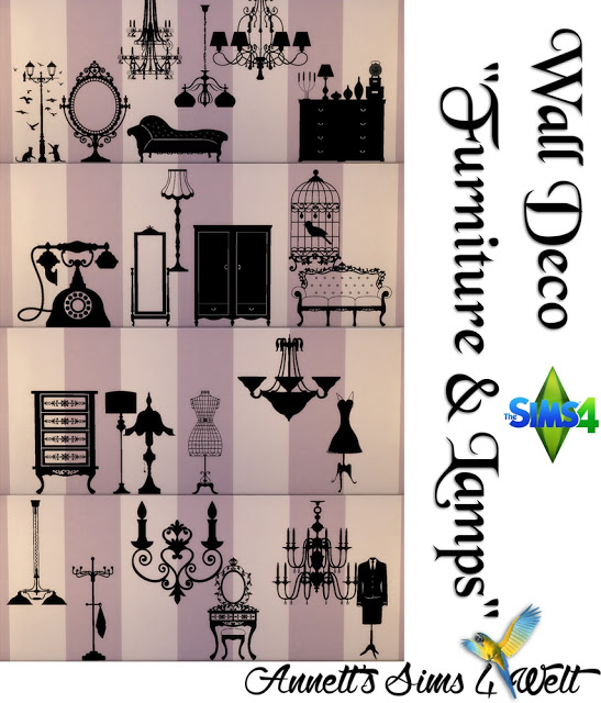 Annett`s Sims 4 Welt: Wall Deco Furniture & Lamps