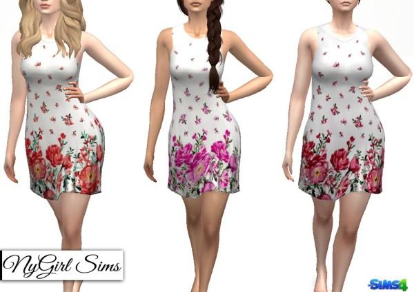 NY Girl Sims: Sleeveless Floral Bordered Dress